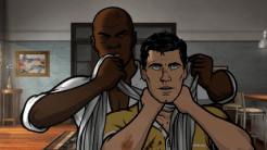 """ARCHER: Episode 2, Season 6 """"Three to Tango"""" (Airing Thursday, January 15, 10:00 PM e/p) An agent from the past has a hand creating tension between Archer and Lana. Pictured: (L-R) Conway Stern (voice of Coby Bell), Sterling Archer (voice of H. Jon Benjamin). CR: FX"""