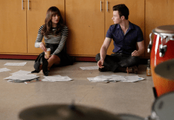 """GLEE: Rachel (Lea Michele, L) and Kurt (Chris Colfer, R) discuss a lesson plan in the """"Jagged Little Tapestry"""" episode of GLEE airing Friday, Jan. 16 (9:00-10:00 PM ET/PT) on FOX. ©2014 Fox Broadcasting Co. CR: Tyler Golden/FOX"""