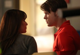 """GLEE: Sam (Chord Overstreet, R) and Rachel (Lea Michele, L) chat in the """"The Hurt Locker, Part Two"""" episode of GLEE airing Friday, Jan. 30 (9:00-10:00 PM ET/PT) on FOX. ©2014 Fox Broadcasting Co. CR: Beth Dubber/FOX"""