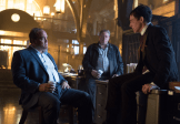 """GOTHAM: Sal Maroni (guest star David Zayas, L) questions Oswald Cobblepot (Robin Lord Taylor, R) about his suspicious behavior in the """"What The Little Bird Told Him"""" episode of GOTHAM airing Monday, Jan. 19 (8:00-9:00 PM ET/PT) on FOX. ©2014 Fox Broadcasting Co. Cr: Jessica Miglio/FOX"""