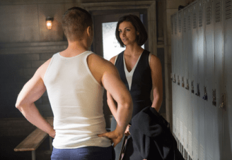 """GOTHAM: Dr. Leslie Thompkins (guest star Morena Baccarin, R) visits Detective James Gordon (Ben McKenzie, L) at the GCPD precinct in the """"What The Little Bird Told Him"""" episode of GOTHAM airing Monday, Jan. 19 (8:00-9:00 PM ET/PT) on FOX. ©2014 Fox Broadcasting Co. Cr: Jessica Miglio/FOX"""