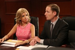"""PARKS AND RECREATION -- """"2017"""" Episode 701 -- Pictured: (l-r) Susan Yeagley as Jessica Wicks, Marc Evan Jackson as Trevor Nelson -- (Photo by: Danny Feld/NBC)"""