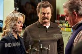 "PARKS AND RECREATION -- ""Funkin' Gonuts"" Episode 704 -- Pictured: (l-r) Amy Poehler as Leslie Knope, Nick Offerman as Ron Swanson, Jim O'Heir as Jerry Gergich -- (Photo by: Ben Cohen/NBC)"
