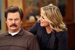 "PARKS AND RECREATION -- ""Funkin' Gonuts"" Episode 704 -- Pictured: (l-r) Nick Offerman as Ron Swanson, Amy Poehler as Leslie Knope -- (Photo by: Ben Cohen/NBC)"