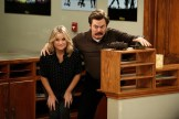 "PARKS AND RECREATION -- ""Funkin' Gonuts"" Episode 704 -- Pictured: (l-r) Amy Poehler as Leslie Knope, Nick Offerman as Ron Swanson -- (Photo by: Tyler Golden/NBC)"