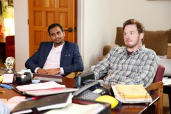 "PARKS AND RECREATION -- ""William Henry Harrison"" Episode 705 -- Pictured: (l-r) Aziz Ansari as Tom Haverford, Chris Pratt as Andy Dwyer -- (Photo by: Greg Gayne/NBC)"