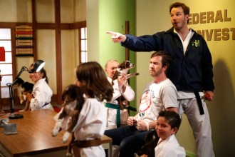 "PARKS AND RECREATION -- ""William Henry Harrison"" Episode 705 -- Pictured: (l-r) Andrew Burlinson as Burly Burlinson, Chris Pratt as Andy Dwyer -- (Photo by: Greg Gayne/NBC)"