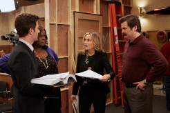 "PARKS AND RECREATION -- ""GryzzlBox"" Episode 706 -- Pictured: (l-r) Adam Scott as Ben Wyatt, Retta as Donna Meagle, Amy Poehler as Leslie Knope, Nick Offerman as Ron Swanson -- (Photo by: Ben Cohen/NBC)"