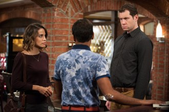 """PARKS AND RECREATION -- """"Save JJ's"""" Episode 707 -- Pictured: (l-r) Natalie Morales as Lucy, Aziz Ansari as Tom Haverford, Billy Eichner as Craig -- (Photo by: Colleen Hayes/NBC)"""