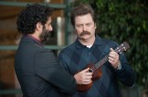 "PARKS AND RECREATION -- ""Save JJ's"" Episode 707 -- Pictured: (l-r) Jason Mantzoukas as Dennis Feinstein, Nick Offerman as Ron Swanson -- (Photo by: Colleen Hayes/NBC)"