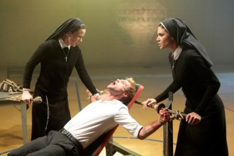 "CONSTANTINE -- ""The Saint of Last Resorts: Part Two"" Episode 109 -- Pictured: (l-r) Claire van der Boom as Anne Marie, Matt Ryan as Constantine, Anjelica Celaya as Zed -- (Photo by: Dan McFadden/NBC)"