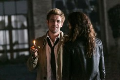 "CONSTANTINE -- ""Quid Pro Quo"" Episode 110 -- Pictured: (l-r) Matt Ryan as Constantine, Anjelica Celaya asZed -- (Photo by: Tina Rowden/NBC)"