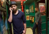 "EMPIRE: Jamal (Jussie Smollett, L) records at a 'ghetto' studio in the ""Dangerous Bonds"" episode of EMPIRE airing Wednesday, Feb. 4 (9:00-10:00 PM ET/PT) on FOX. ©2014 Fox Broadcasting Co. CR: Chuck Hodes/FOX"