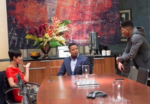 """EMPIRE: Anika (Grace Gealey, L), Lucious (Terrence Howard, C) listen to Hakeem's (Bryshere Gray, R) new song in the """"Out Damned Spot"""" episode of EMPIRE airing Wednesday, Feb. 11 (9:01-10:00 PM ET/PT) on FOX. ©2015 Fox Broadcasting Co. CR: Chuck Hodes/FOX"""