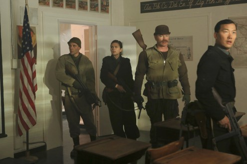 """MARVEL'S AGENT CARTER - """"The Iron Ceiling"""" - Peggy is finally trusted with a mission and calls upon her trusted Howling Commandos squad for backup. But her cover could be at risk when SSR Chief Dooley also sends Agent Thompson with her, on """"Marvel's Agent Carter,"""" TUESDAY, FEBRUARY 3 (9:00-10:00 p.m., ET) on the ABC Television Network. (ABC/Matt Kennedy) JAMES AUSTIN KERR, HAYLEY ATWELL, NEAL MCDONOUGH, EDDIE SHIN"""
