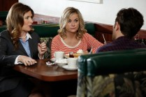 "PARKS AND RECREATION -- ""Donna and Joe"" Episode 703 -- Pictured: (l-r) Kathryn Hahn as Jennifer Barkley, Amy Poehler as Leslie Knope -- (Photo by: Tyler Golden/NBC)"