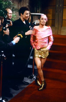 "SNL 40TH ANNIVERSARY SPECIAL -- Season 25, Episode 13 -- Pictured: (l-r) Jimmy Fallon as Todd Newton, Chris Kattan as Mango during ""Mango"" skit on February 19, 2000 -- (Photo by: Mary Ellen Matthews/NBC)"