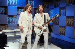 "SNL 40TH ANNIVERSARY SPECIAL -- Season 34, Episode 1552 -- Pictured: (l-r) Justin Timberlake as Robin Gibb, Jimmy Fallon as Barry Gibb during the ""Barry Gibb Talk Show"" skit on May 9, 2009 -- (Photo by: Dana Edelson/NBC)"