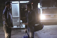 """The Vampire Diaries -- """"Stay"""" -- Image Number: VD114a_0159.jpg -- Pictured (L-R): Matt Davis as Alaric and Steven R. McQueen as Jeremy -- Photo: Annette Brown/The CW -- © 2015 The CW Network, LLC. All rights reserved."""