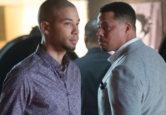"""EMPIRE: Lucious (Terrence Howard, R) and Jamal (Jussie Smollett, L) form a music-centered relationship in the special two-hour """"Die But Once/Who I Am"""" Season Finale episode of EMPIRE airing Wednesday, March 18 (8:00-10:00 PM ET/PT) on FOX. CR: Chuck Hodes/FOX"""