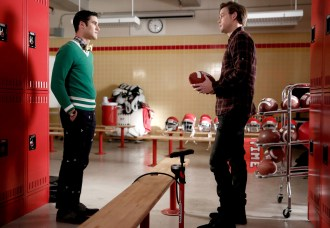 "GLEE: L-R: Blaine (Darren Criss) and Sam (Chord Overstreet) chat in the special two-hour ""2009/Dreams Come True"" Series Finale episode of GLEE airing Friday, March 20 (8:00-10:00 PM ET/PT) on FOX. ©2015 Fox Broadcasting Co. CR: Tyler Golden/FOX"