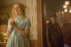 """GOTHAM: Bullock (Donal Logue, R) discovers an interesting twist in their case in the """"Everyone Has A Cobblepot"""" episode of GOTHAM airing Monday, March 2 (8:00-9:00 PM ET/PT) on FOX. Also pictured: guest star Nicholle Tom, L. ©2015 Fox Broadcasting Co. Cr: Jessica Miglio/FOX"""