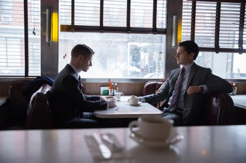 """GOTHAM: Gordon (Ben McKenzie, L) meets with Harvey Dent (guest star Nicholas D'Agosto, R) in the """"Everyone Has A Cobblepot"""" episode of GOTHAM airing Monday, March 2 (8:00-9:00 PM ET/PT) on FOX. ©2015 Fox Broadcasting Co. Cr: Jessica Miglio/FOX"""