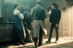Emily Blunt, Meryl Streep, James Corden and Rob Marshall on the set of Disney's humorous and heartfelt musical INTO THE WOODS directed by Rob Marshall and produced by John DeLuca, Rob Marshall, Marc Platt and Callum McDougall.