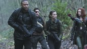 """Arrow -- """"Suicidal Tendencies"""" -- Image AR317_SG_0018 -- Pictured (L-R): David Ramsey as John Diggle, Michael Rowe as Floyd Lawton / Deadshot, Audrey Marie Anderson as Lyla Michaels, and Amy Gumenick as Carrie Cutter / Cupid -- Photo: The CW -- © 2015 The CW Network, LLC. All Rights Reserved."""
