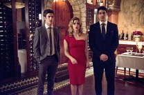 "The Flash -- ""All Star Team Up"" -- Image FLA118A_0365b -- Pictured (L-R): Grant Gustin as Barry Allen, Emily Bett Rickards as Felicity Smoak, and Brandon Routh as Ray Palmer -- Photo: Cate Cameron/The CW -- © 2015 The CW Network, LLC. All rights reserved."