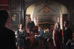 """The Vampire Diaries -- """"I'm Thinking of You All The While"""" -- Image Number: VD622b_0009.jpg -- Pictured (L-R): Ian Somerhalder as Damon (back to camera), Kat Graham as Bonnie, Matt Davis as Alaric, Zach Roerig as Matt, Michael Trevino as Tyler, Candice Accola as Caroline and Paul Wesley as Stefan -- Photo: Annette Brown/The CW -- © 2015 The CW Network, LLC. All rights reserved."""