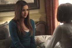 """The Vampire Diaries -- """"I'm Thinking of You All The While"""" -- Image Number: VD622b_0413.jpg -- Pictured (L-R): Nina Dobrev as Elena and Kat Graham as Bonnie (back to camera) -- Photo: Annette Brown/The CW -- © 2015 The CW Network, LLC. All rights reserved."""