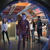 """The Flash -- """"Fast Enough"""" -- Image FLA123A_0159b -- Pictured (L-R): Danielle Panabaker as Caitlin Snow, Grant Gustin as Barry Allen, Rick Cosnett as Detective Eddie Thawne, Candice Patton as Iris West, and Jesse L. Martin as Detective Joe West -- Photo: Diyah Pera/The CW -- �© 2015 The CW Network, LLC. All rights reserved."""