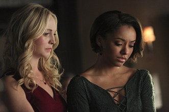 "The Vampire Diaries -- ""I'm Thinking of You All The While"" -- Image Number: VD622b_0276.jpg -- Pictured (L-R): Candice Accola as Caroline and Kat Graham as Bonnie -- Photo: Annette Brown/The CW -- © 2015 The CW Network, LLC. All rights reserved."
