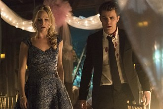 "The Vampire Diaries -- ""I'm Thinking of You All The While"" -- Image Number: VD622a_0647.jpg -- Pictured (L-R): Candice Accola as Caroline and Paul Wesley as Stefan -- Photo: Tina Rowden/The CW -- © 2015 The CW Network, LLC. All rights reserved."