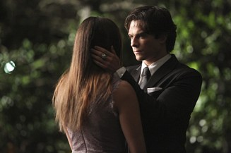 "The Vampire Diaries -- ""I'm Thinking of You All The While"" -- Image Number: VD622c_0192.jpg -- Pictured (L-R): Nina Dobrev as Elena (back to camera) and Ian Somerhalder as Damon -- Photo: Annette Brown/The CW -- © 2015 The CW Network, LLC. All rights reserved."