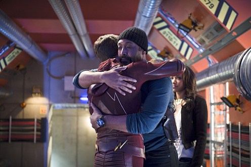 """The Flash -- """"Fast Enough"""" -- Image FLA123A_0106b -- Pictured (L-R): Grant Gustin as Barry Allen, Jesse L. Martin as Detective Joe West and Candice Patton as Iris West -- Photo: Diyah Pera/The CW -- © 2015 The CW Network, LLC. All rights reserved."""