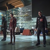 """The Flash -- """"Rogue Air"""" -- Image FLA122B_0255b -- Pictured (L-R): Stephen Amell as Oliver Queen / Arrow, Grant Gustin as Barry Allen / The Flash and Robbie Amell as Ronnie / Firestorm -- Photo: Diyah Pera/The CW -- �© 2015 The CW Network, LLC. All rights reserved."""