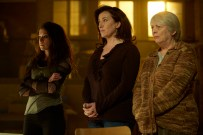 Orphan Black, Season 3, Episode 10, Sarah (Tatiana Maslany), Mrs. S (Maria Doyle Kennedy) and Kendall Malone (Alison Steadman). Photo Credit: Steve Wilkie for BBC AMERICA