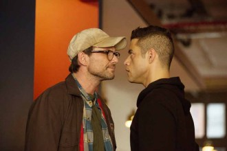 "MR. ROBOT -- ""zer0-day.avi"" Episode 110 -- Pictured: (l-r) Christian Slater as Mr. Robot, Rami Malek as Elliot Alderson -- (Photo by: Christopher Saunders/USA Network)"