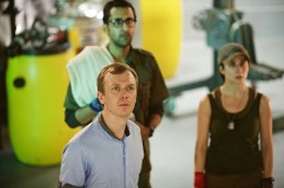 Picture shows: Arsher Ali as Bennett, Steven Robertson as Pritchard and Morven Christie as O'Donnell
