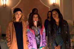 """SCREAM QUEENS: Pictured L-R: Skyler Samuels as Grace, Lea Michele as Hester and Keke Palmer as Zayday in """"Pilot,"""" the first part of the special, two-hour series premiere of SCREAM QUEENS airing Tuesday, Sept. 22 (8:00-10:00 PM ET/PT) on FOX. ©2015 Fox Broadcasting Co. Cr: Steve Dietl/FOX."""