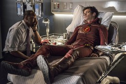 "The Flash -- ""The Man Who Saved Central City"" -- Image FLA201b_0462b.jpg -- Pictured (L-R): Jesse L. Martin as Detective Joe West and Grant Gustin as Barry Allen -- Photo: Cate Cameron /The CW -- © 2015 The CW Network, LLC. All rights reserved."