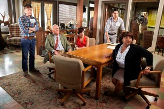 TRIAL & ERROR -- Pilot -- Pictured: (l-r) Steven Boyer as Dwayne, John Lithgow as Larry, Krysta Rodriguez as Summer, Nick D'Agosto as Josh, Sherri Shepherd as Anne -- (Photo by: Tyler Golden/NBC)