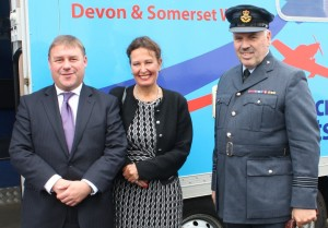 Defence Minister Mark Francois with Newton Abbot MP Anne Marie Morris and the Commanding Officer for Devon Air Cadets