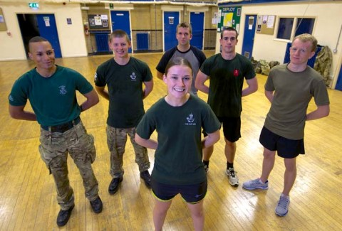 Front: Private Jessica Pike. Behind from left: Lance Corporal Andrew Robbins, Rifleman Terry Pratley, Recruit Daniel Braycotton, Rifleman Alan Robertson and Recruit Charlie Grant.