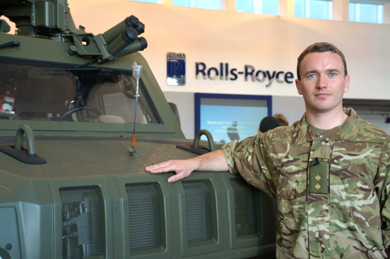 Lieutenant Gareth Hetheridge, a member of 71 Military Intelligence Company and also a project manager on the EJ200 engine programme at Rolls-Royce