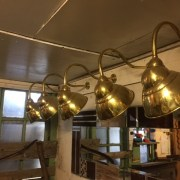 5 Vintage Brass Wall Lamps
