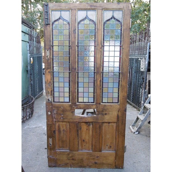 stained glass panel pine door