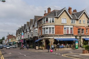 Shopping scene, Poole Road, Westbourne, Dorset